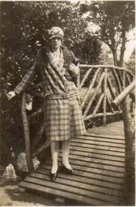 1920s Woman on bridge in Park
